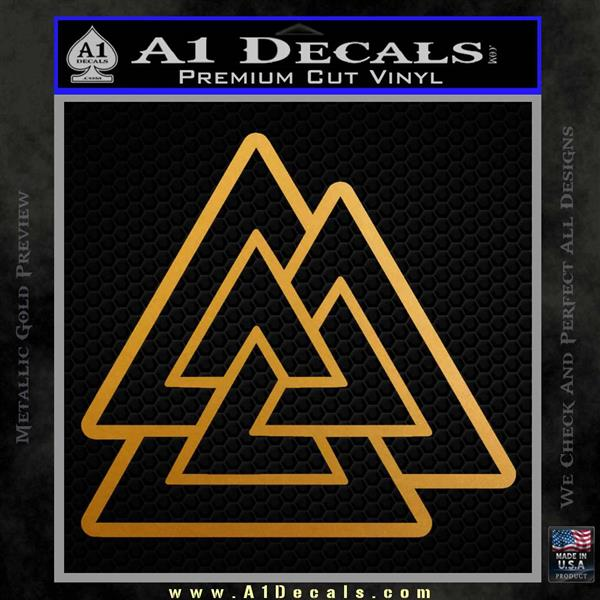 Celtic Warrior Knot Rune Decal Sticker Metallic Gold Vinyl