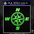 Compass Decal Sticker Cardinal Points NSEW Lime Green Vinyl 120x120