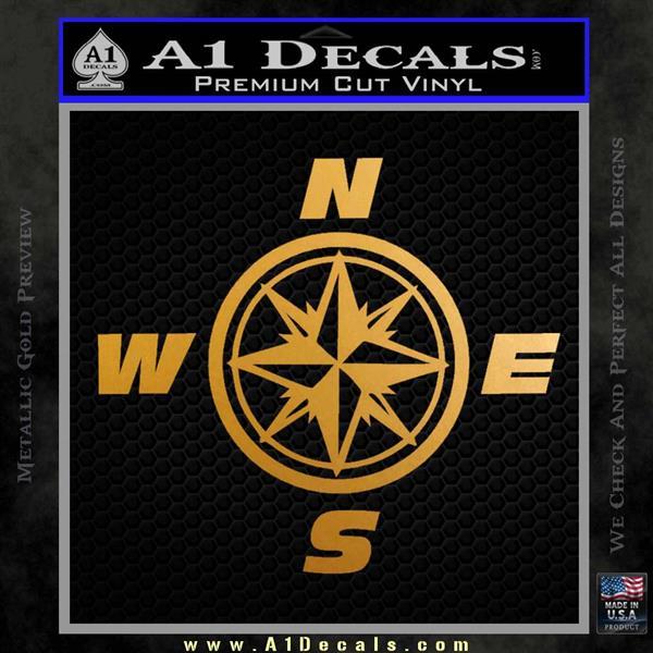 Compass Decal Sticker Cardinal Points NSEW Metallic Gold Vinyl