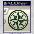 Compass Only Decal Sticker Cardinal Points Dark Green Vinyl 120x120