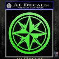 Compass Only Decal Sticker Cardinal Points Lime Green Vinyl 120x120