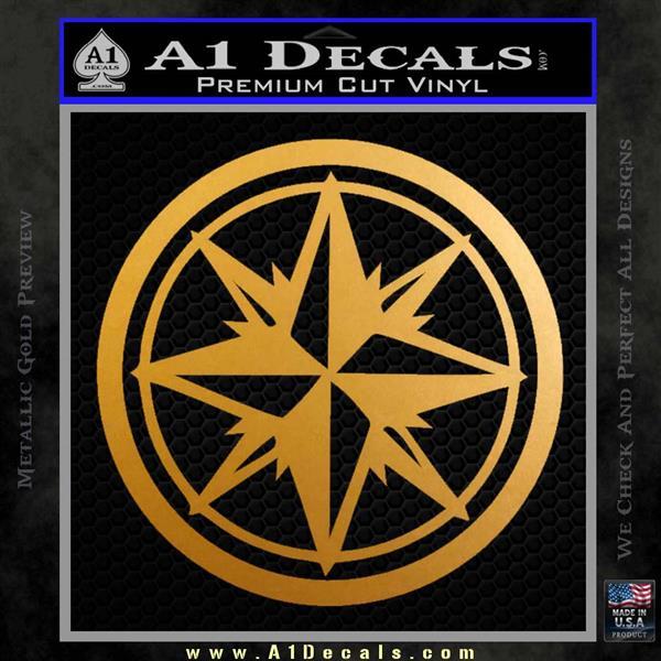 Compass Only Decal Sticker Cardinal Points Metallic Gold Vinyl