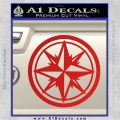 Compass Only Decal Sticker Cardinal Points Red Vinyl 120x120
