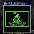 Dont Tread On Me Flag Decal Sticker Customizable Family Lime Green Vinyl 120x120