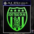Dont Tread On Me Shield Decal Sticker Lime Green Vinyl 120x120