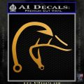 Ducks Unlimited Fishing Hook Antlers Decal Sticker Metallic Gold Vinyl 120x120