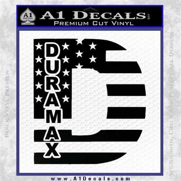 Duramax Decal Sticker Flag D1 Black Vinyl Logo Emblem