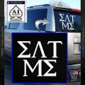 Eat Me Greek Lettering Frat Decal Sticker White Vinyl Emblem 120x120