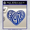 Family Heart Decal Sticker Retro Blue Vinyl 120x120