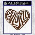 Family Heart Decal Sticker Retro Brown Vinyl 120x120