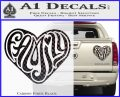 Family Heart Decal Sticker Retro Carbon Fiber Black 120x97