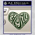Family Heart Decal Sticker Retro Dark Green Vinyl 120x120