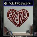 Family Heart Decal Sticker Retro Dark Red Vinyl 120x120