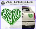 Family Heart Decal Sticker Retro Green Vinyl 120x97