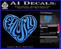 Family Heart Decal Sticker Retro Light Blue Vinyl 120x97
