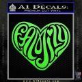 Family Heart Decal Sticker Retro Lime Green Vinyl 120x120