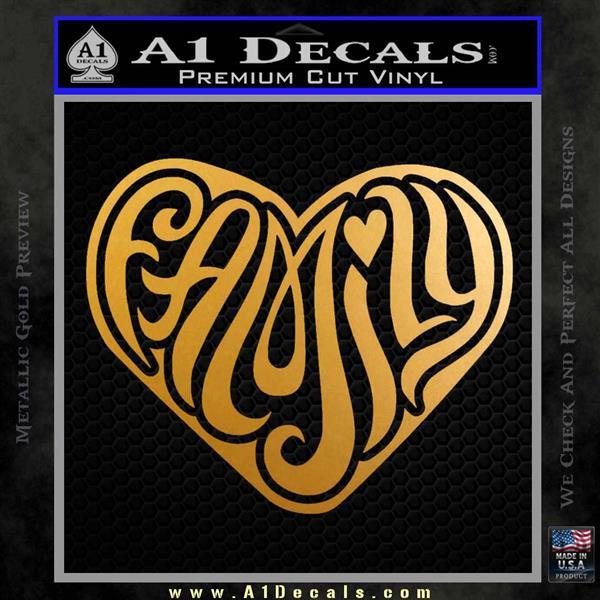 Family Heart Decal Sticker Retro Metallic Gold Vinyl