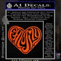 Family Heart Decal Sticker Retro Orange Vinyl Emblem 120x120