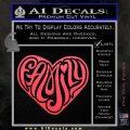 Family Heart Decal Sticker Retro Pink Vinyl Emblem 120x120