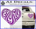 Family Heart Decal Sticker Retro Purple Vinyl 120x97