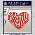 Family Heart Decal Sticker Retro Red Vinyl 120x120
