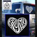 Family Heart Decal Sticker Retro White Vinyl Emblem 120x120