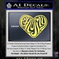 Family Heart Decal Sticker Retro Yellow Vinyl 120x120