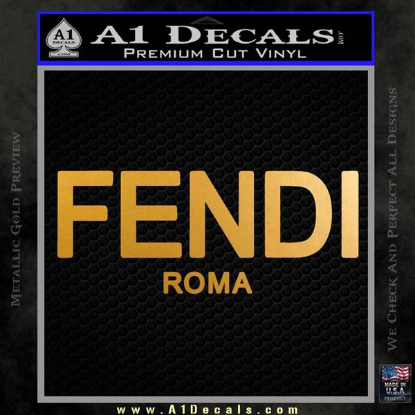 Fendi Decal Sticker Roma Metallic Gold Vinyl