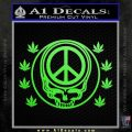 Grateful Dead Steal Your Face Peace Pot Leaves Decal Sticker Lime Green Vinyl 120x120