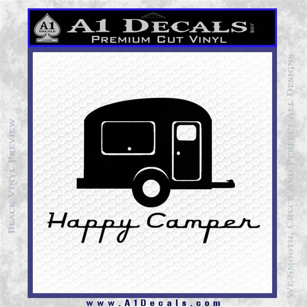 Happy Camper RV Decal Sticker Black Vinyl Logo Emblem