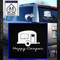 Happy Camper RV Decal Sticker White Vinyl Emblem 120x120