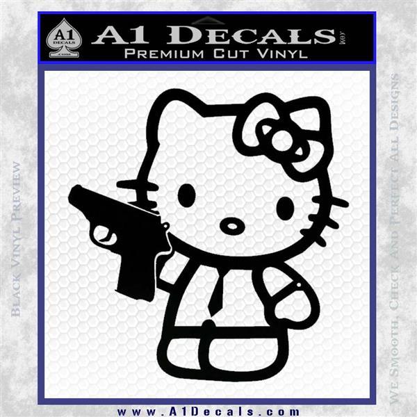 Hello Kitty 007 Decal Sticker Black Vinyl Logo Emblem