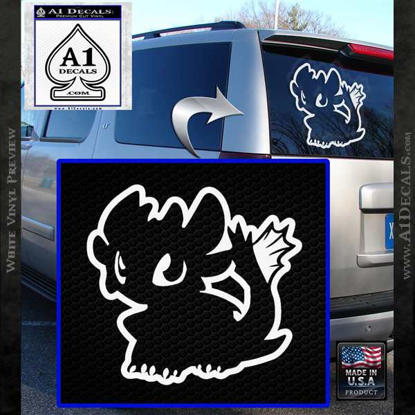 How To Train Your Dragon Decal Sticker Toothless D1 Young White Vinyl Emblem