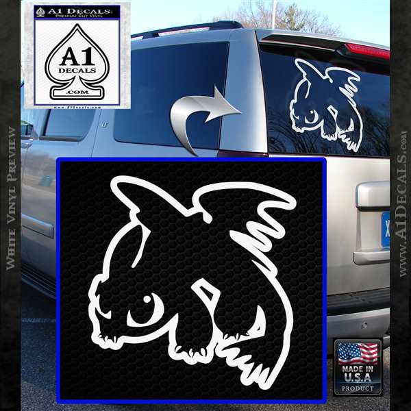 How To Train Your Dragon Decal Sticker Toothless D2 White Vinyl Emblem