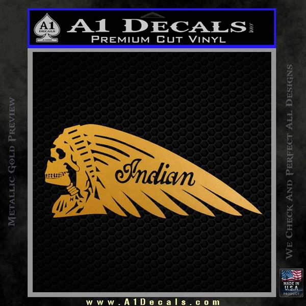 Indian Motorcycle Skull Decal Sticker Metallic Gold Vinyl