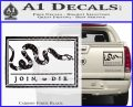 Join Or Die Flag Decal Sticker D1 Benjamin Franklin Carbon Fiber Black 120x97
