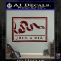 Join Or Die Flag Decal Sticker D1 Benjamin Franklin Dark Red Vinyl 120x120
