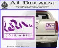 Join Or Die Flag Decal Sticker D1 Benjamin Franklin Purple Vinyl 120x97