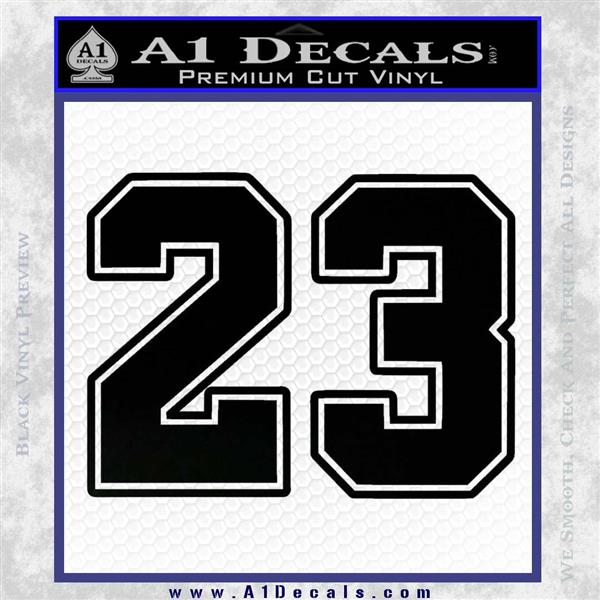 Jordan 23 Number Jumpman Decal Sticker Black Vinyl Logo Emblem