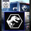 Jurassic Park Hexagon Logo Decal Sticker White Vinyl Emblem 120x120