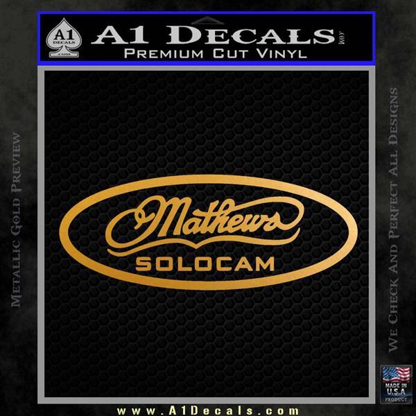 Mathews Solocam Archery Decal Sticker Metallic Gold Vinyl