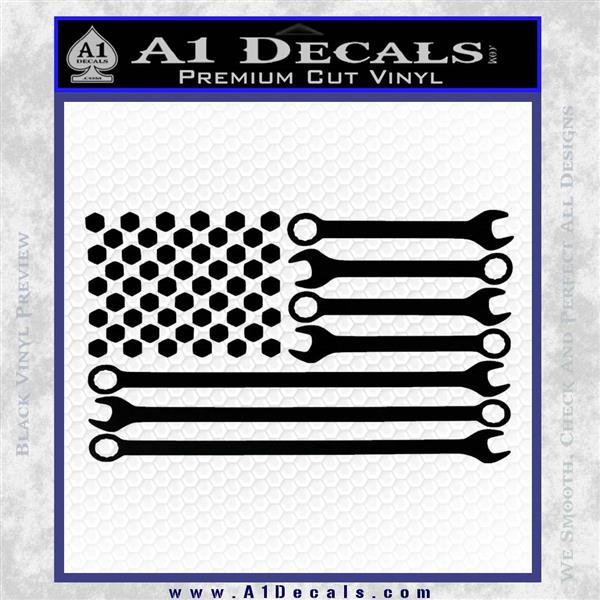Mechanics Flag Decal Sticker America USA Black Vinyl Logo Emblem