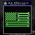 Mechanics Flag Decal Sticker America USA Lime Green Vinyl 120x120