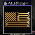 Mechanics Flag Decal Sticker America USA Metallic Gold Vinyl 120x120