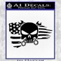 Mechanics Flag Skull Decal Sticker Black Vinyl Logo Emblem 120x120