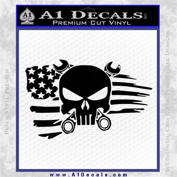 Mechanics Flag Skull Decal Sticker Black Vinyl Logo Emblem