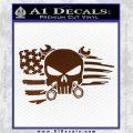 Mechanics Flag Skull Decal Sticker Brown Vinyl 120x120