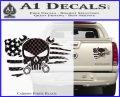 Mechanics Flag Skull Decal Sticker Carbon Fiber Black 120x97