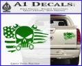 Mechanics Flag Skull Decal Sticker Green Vinyl 120x97