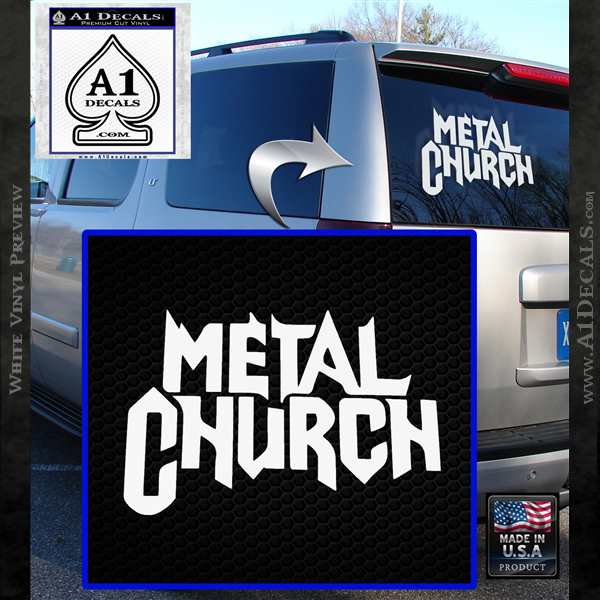 Metal Church Decal Sticker White Vinyl Emblem
